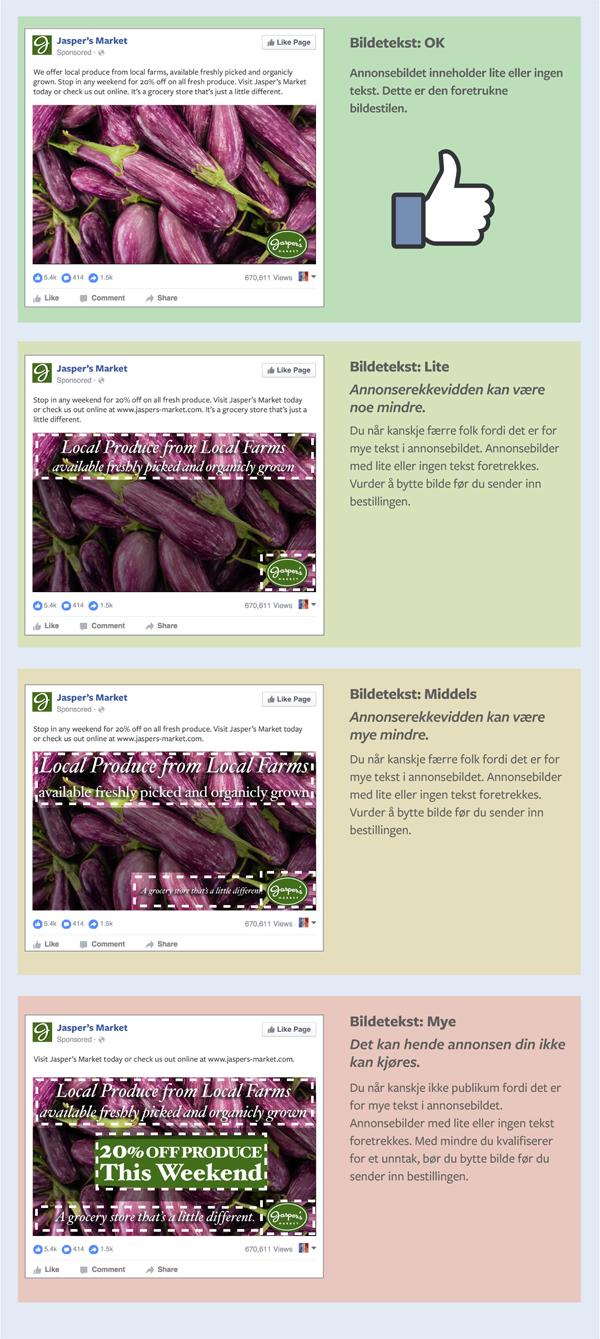 veiledning for bruk av tekst på facebookbilder